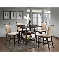 Kings Brand Aloe 5-Piece Cappuccino Wood Counter-Height Dining Set, Table With 4 Clay Upholstered Chairs