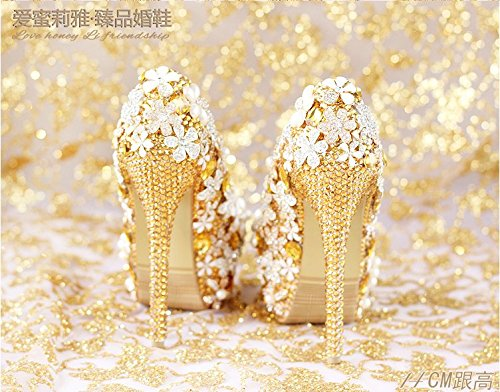 Shoes Waterproof Heel Crystal Sandals 6 VIVIOO Prom Heel Dress Women'S Golden Bride Shoes Shoes Super Flower Wedding zR7Zn7