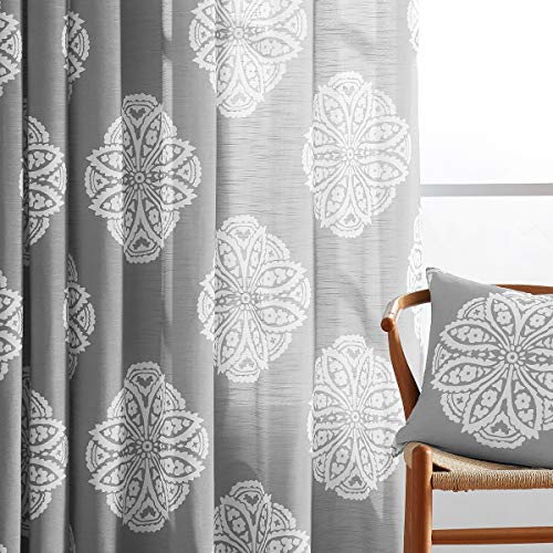White Grey Print Sheer Curtains for Bedroom 63