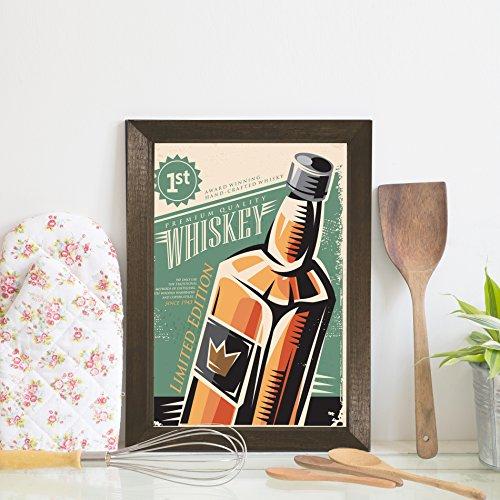 Quadro Bebida Vintage Whisky 22x32cm Moldura Marrom