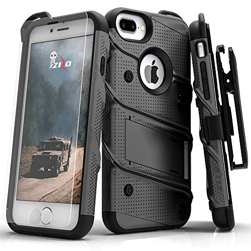 ZIZO Bolt Series iPhone 8 Plus Case/iPhone 7 Plus Case Military Grade Includes Glass Screen Protector, Belt Holster Clip Lanyard (Gunmetal Gray)