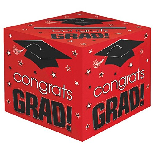 (Amscan School Colors Graduation Party Congrats Grad! Card Box Holder, Red, Black and White, Paper, 12