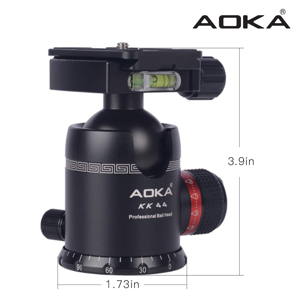 AOKA Professional 360-Degree Rotating Panoramic Ball Head with 1/4-inch Quick Release Plate, Self-Weight 1.08 lbs/0.49 kg, Maximum Load 66 lbs/30 kg, Suitable for Tripods, Monopod, SLR Cameras by AOKA