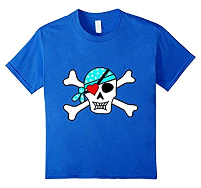 Kids Boy's Valentines Day T Shirt Pirate Skull Heart Patch