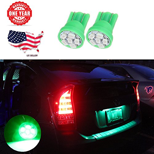 LED Monster Green LED Bulbs 6-SMD Car License Plate Lamp Bulb T10 194 168 W5W (10)