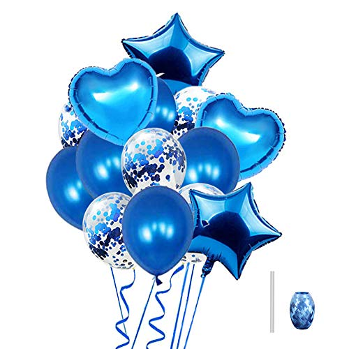 (Huture 14PCS Blue 18'' Foil Heart Star Mylar Pentagon 12'' Confetti Sequins Metallic Balloons Kit for Baby Shower Christmas Birthday Carnival Graduation Party Decorations)