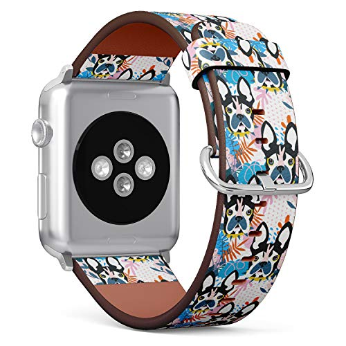 - (Boston Terrier French Bulldog) Patterned Leather Wristband Strap for Apple Watch Series 4/3/2/1 gen,Replacement for iWatch 42mm / 44mm Bands