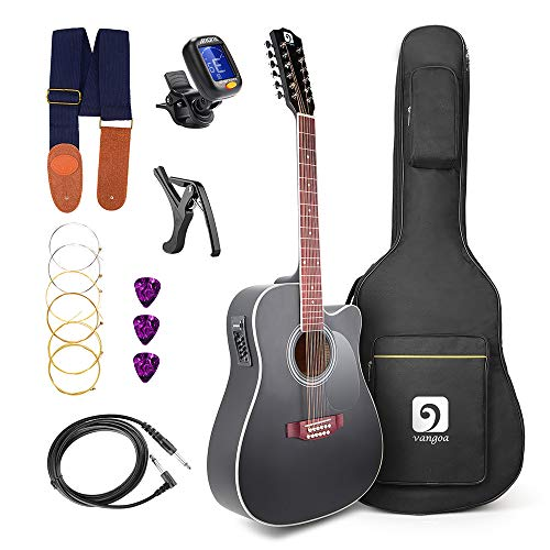 Vangoa 41 Inch 12 Strings VGK41-12BKCE Black Acoustic Electric Cutaway Guitar 4 Band EQ Starter Kit