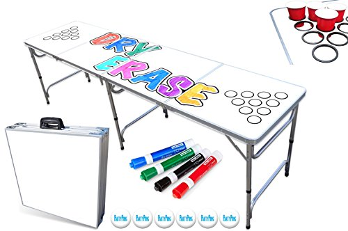 PartyPongTables 8-Foot Beer Pong Table with Cup Holes & Dry Erase Surface ()