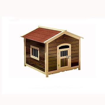 Medio carbonizado rojo sólido de madera de la perrera perrera carbonizada al aire libre caja de arena para gatos jaula de perro grande perro mascota perrera ...