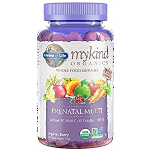 Garden of Life mykind Organics Prenatal Gummy Vitamins Berry  Organic, Non GMO, Vegan, Kosher Complete Multi Methyl B12, D3 & Folate Gluten, Soy & Dairy Free 120 Real Fruit Chew Gummies