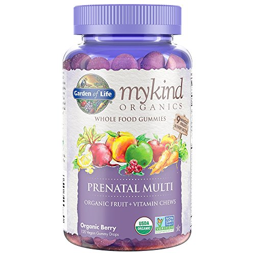 Garden of Life Prenatal Gummy Vitamin with Folate - mykind Organics Gummy Multivitamin for Women, 120 Count Certified Organic Fruit Chews