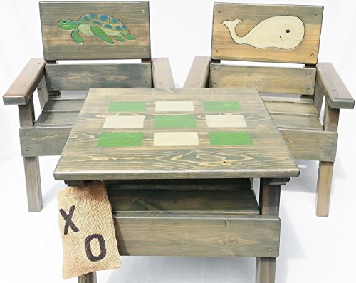 Kids Wood Nautical Table & Chairs, Toddler Game, Engraved & Painted Whale & Sea Turtle