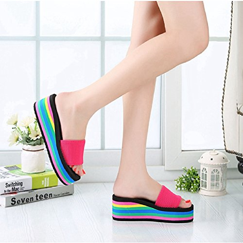 Btrada Mode Sandalen Voor Dames Zomer Antislip Platform Regenboog Wig Sandaal Schattige Schoenen Rose Rood