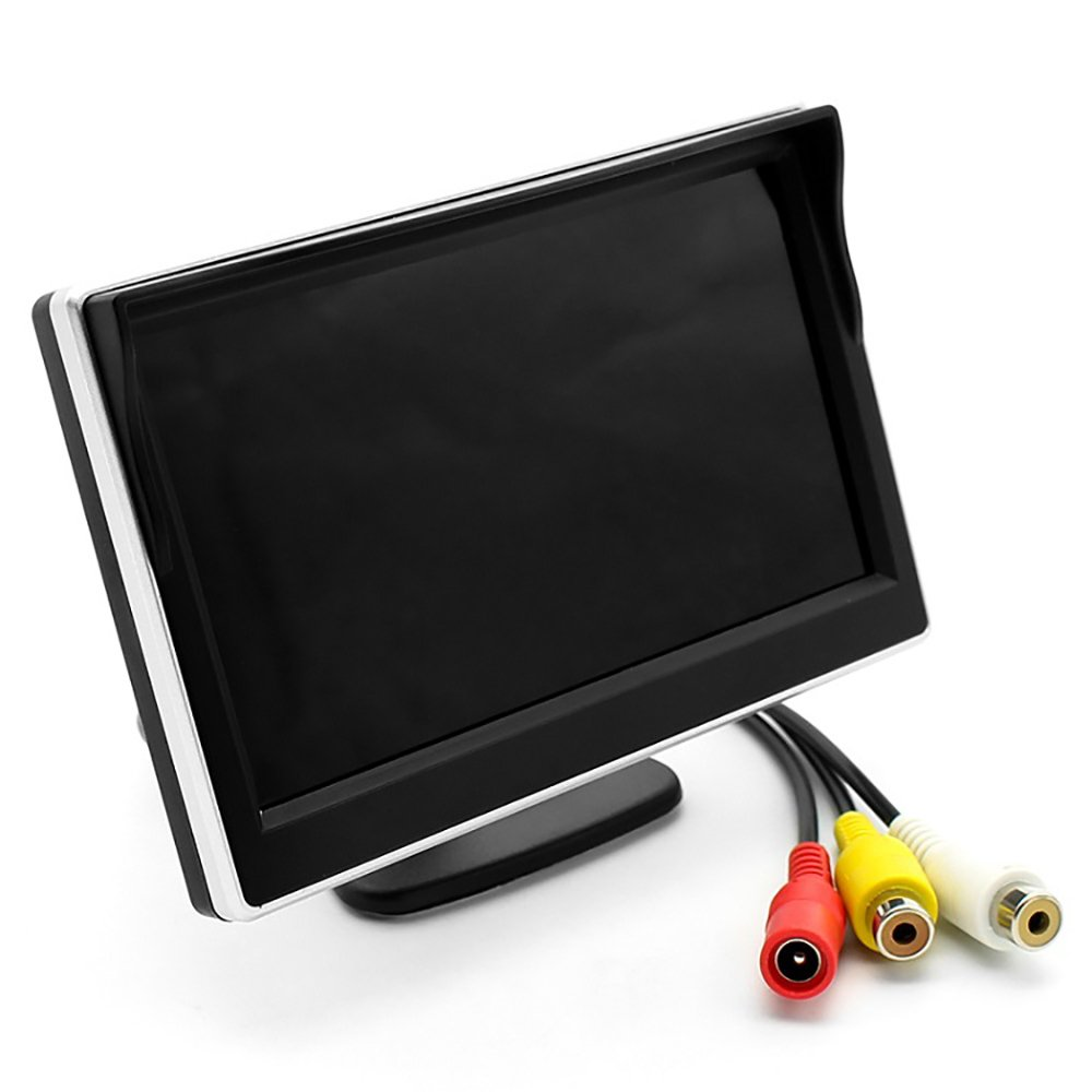 5 Inch High Definition Color TFT LCD Backup Monitor Display Screen For Car 2 Way Video Input,12V/24V Wide Voltage