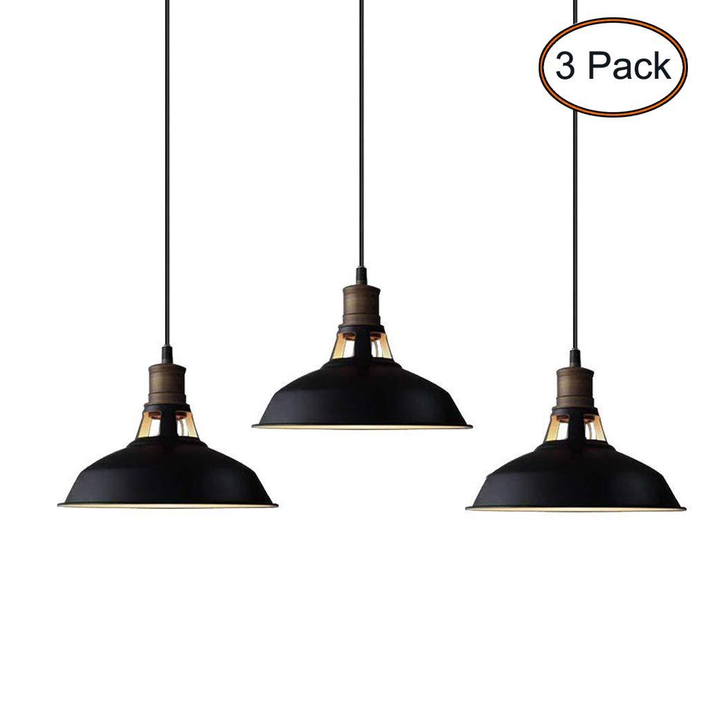CLAXY Ecopower Industrial Mini Metal Barn Pendant Light 3 Pack