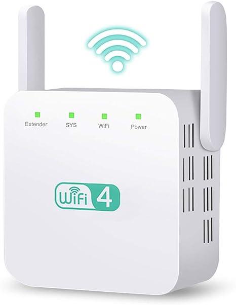 Ohiyoo Repetidor WiFi 300Mbit/s Extensor de Red WiFi Amplificador Enrutador Inalámbrico 2.4GHz Red de Internet Señal WiFi Repetidores de Red (2 x ...