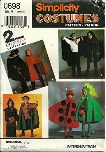 Simplicity 7470 Sewing Pattern Costumes Dinosaur Lady Bug Robin Hood