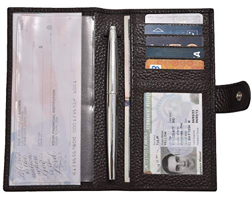 - Genuine Leather Checkbook Cover For Men & Women- Checkbook Holder RFID Blocking With Pen And Credit Card Slots (Brown Pebble)