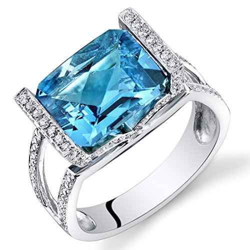 (Peora 14K White Gold Radiant Cut Swiss Blue Topaz Diamond Ring (4.98 cttw))