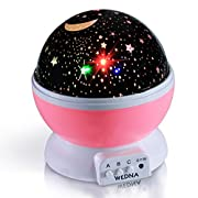 WEDNA Novelty 360 Rotating Galaxy Night Light, Romantic Cosmos Star Moon Sky Projector, Idea Bedroom Lamp for Children and Baby (Blue)