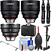 Rokinon Xeen 16mm T/2.6 , 24mm & 50mm T/1.5 Pro Cine Lens Bundle (for Video DSLR Canon EF) with Waterproof Hard Case + Camera Slider + Stabilizer Kit