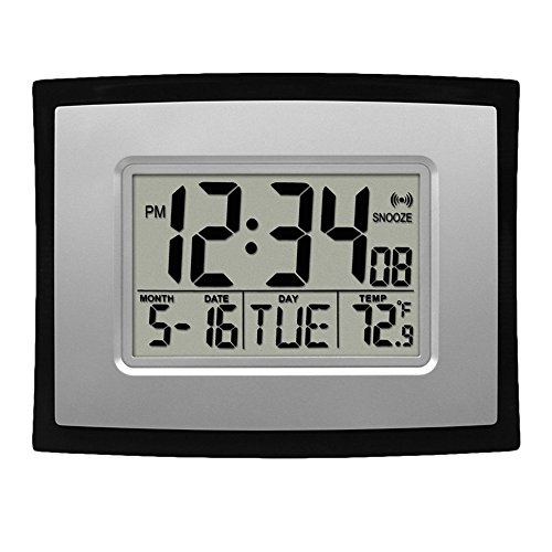 Self Setting Digital LCD Home Office Decor Wall Clock Indoor Temperature