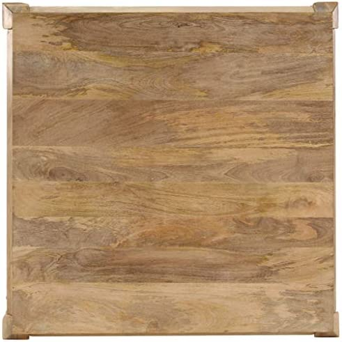 Winkel Festnight Salontafel, hout, woonkamertafel, rustieke salontafel, woonkamer houten tafel, vintage koffietafel, met gebogen poten, massief mangohout, 80 x 80 x 40 cm  wIuuJfk