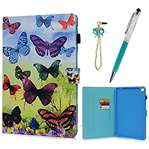 iPad Air/Air2/iPad 9.7 inch 2017 Case with Pencil Holder, KASOS PU Leather TPU Inner Smart Tablet Case Auto Sleep Wake Card Holders Colorful Drawing Stand Cover & Dust Plug & Stylus - Butterfly