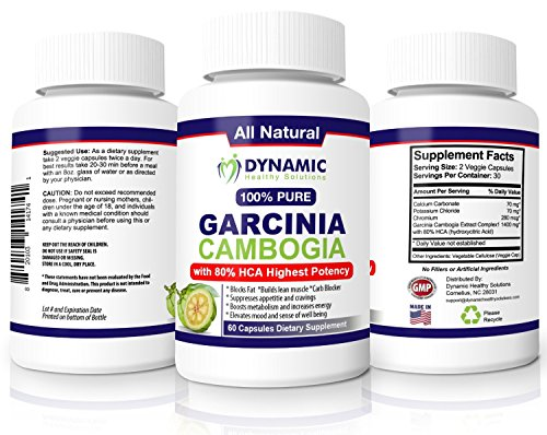 #1 Garcinia Cambogia Extract - 1400 mg (only 2 capsules/day) - 80 HCA - Pure 100% Natural GMO Free Effective Appetite Suppressant and Weight Loss Supplement - 60 Vegetarian Capsules