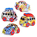 FUN LITTLE TOYS 3.62'' Graffiti Diecast Cars, Push and Go Cars for Easter Eggs Fillers Including Mini Bus, Station Wagon, Muscle Car, Passenger Car