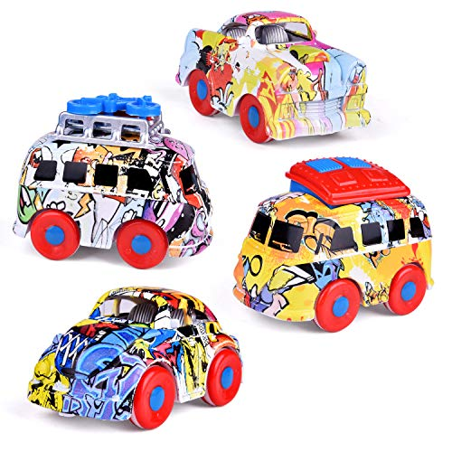 3.62'' Friction Powered Cars, Graffiti Diecast Cars, Push and Go Cars for Grab Bag Toys Including Mini Bus, Station Wagon, Muscle Car, Passenger Car ()