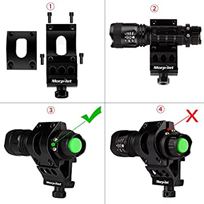 Morpilot Flashlight Mount Rail Mount Flashlight Picatinny Flashlight, 5 Modes 400LM Tactical Flashlight Offset Mount Set, Black