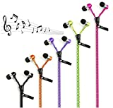 Sufang in-Ear Zip Zipper Stereo Headphones Headphone Earphone Earbud for Mobile Phones Purple