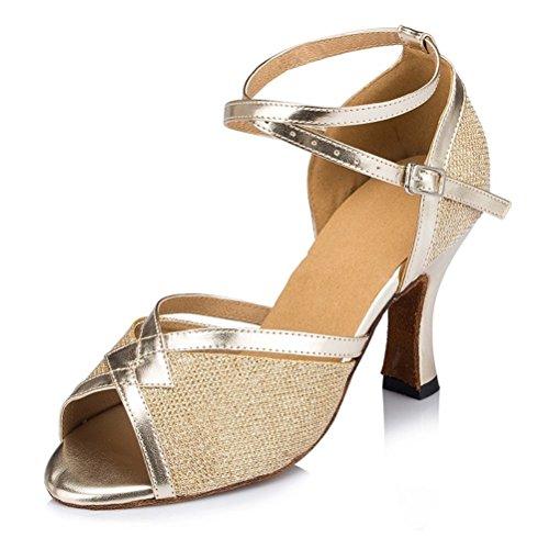misu - Zapatillas de danza para mujer Negro negro, color Dorado, talla 43