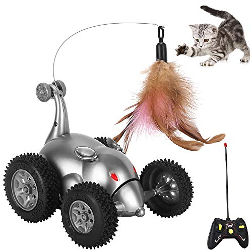 SlowTon Remote Cat Feather Toy, Mouse Shape Interactive Moving Automatic Robotic Rat Sound Chaser Prank Car for Kitten | Stimulate Cat Hunting Instincts | Funny Gifts for Pet (No Battery Included) 2