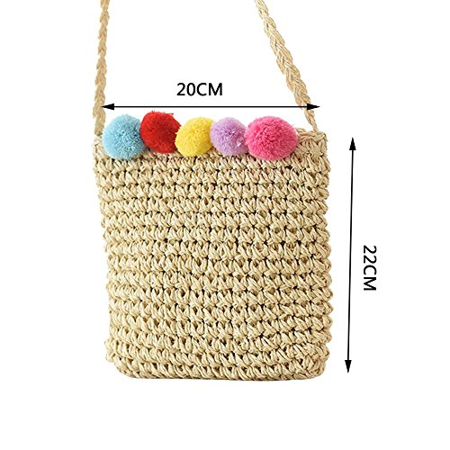 Bag Woven Summer Straw Plush Shoulder Bag Beach Ball Fashion Handmade Color Square Colorful Holiday Braided Bag Leisure Candy Bag Body Small Cross Bag fqtYx