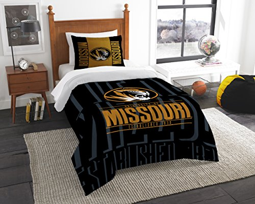 The Northwest Company Officially Licensed NCAA Missouri Tigers Modern Take Twin Comforter and Sham