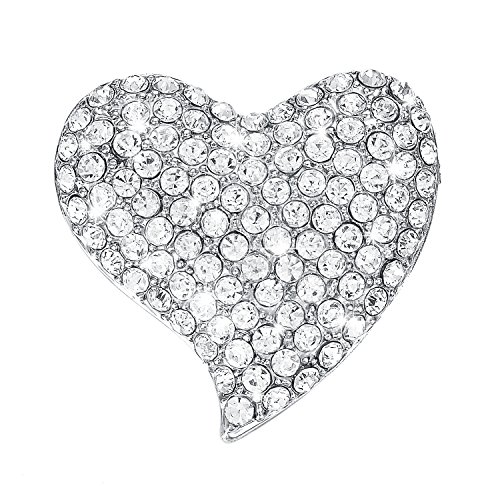 Yoursfs Heart Brooch For Women Cluster Clear Austrian Crystal Love Heart Brooch Pin (Heart Rhinestone Pin)