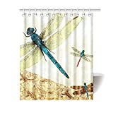 "60""(w) x 72""(h) Cute Vintage Dragonfly Art Bathroom Shower Curtain Shower Rings Included, 100% Polyester"
