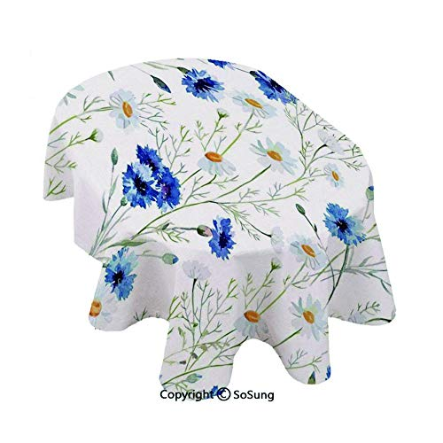SoSung Watercolor Flower Customized Oval Polyester Tablecloth,Wildflowers and Cornflowers Daisies Blooms Flower Buds,Dining Room Kitchen Oval Table Cover, 64 x 84 inches,Blue Sage Green Marigold -