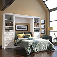 Bestar Versatile 109 Full Wall Bed with 2 Piece 6-Drawer Storage Unit in White