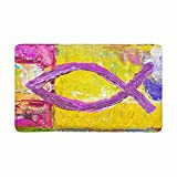 InterestPrint Religious Christian Fish Christian Symbol Painting Doormat Non-Slip Indoor And Outdoor Door Mat Rug Home Decor, Entrance Rug Floor Mats Rubber Backing, Large 30''(L) x 18''(W)