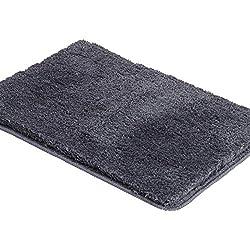 Shaggy Bathroom Rugs Runner,HAOCOO Bathroom Floor Mats Carpet Non-Slip,Water Absorbent, Machine-Washable, Soft Thick Plush Bath Rug for Doormats Tub Shower (17x24 inch, Dark Grey)