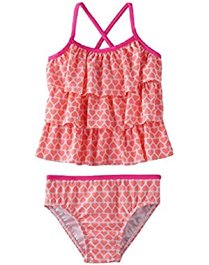 Pink Heart 2 Piece Swimsuit 18 Months