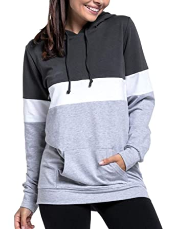 26cf055f2440f ZXZY Women Long Sleeve Colorblock Tunic Maternity Sweatshirts Comfy Layered Nursing  Hoodies Tops for Breastfeeding Dark