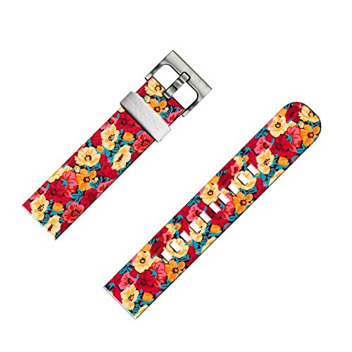(22mm Leather Watch Strap & Band for Samsung Gear S3 Classic/Frontier/for Galaxy Watch 46mm/for Zenwatch 1/2 1.63/for LG Urbane/for Pebble Steel red Flower Art Print)