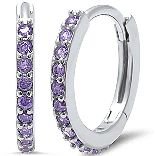 Eternity Huggie Hoop Earrings Round Simulated Purple Amethyst 925 Sterling Silver - Sterling Amethyst Chandelier Silver