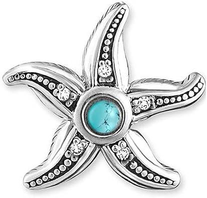 Thomas Sabo - Pendientes de tuerca con diseño de estrella de mar étnica, color blanco y turquesa simulada