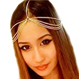 head chain gold - LittleB Bohemia hair chain gold metal headbands for Women and Girls.